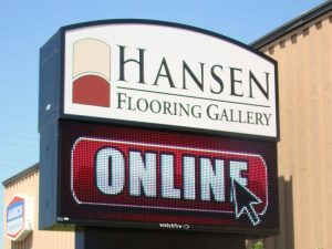 Custom pole sign with led message center